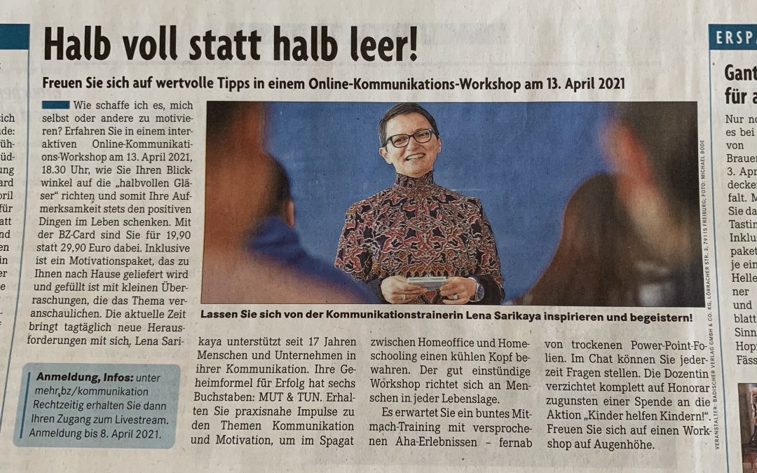Online-Workshop am 13. April 2021 um 18.30 Uhr – Alle Erlöse werden gespendet!