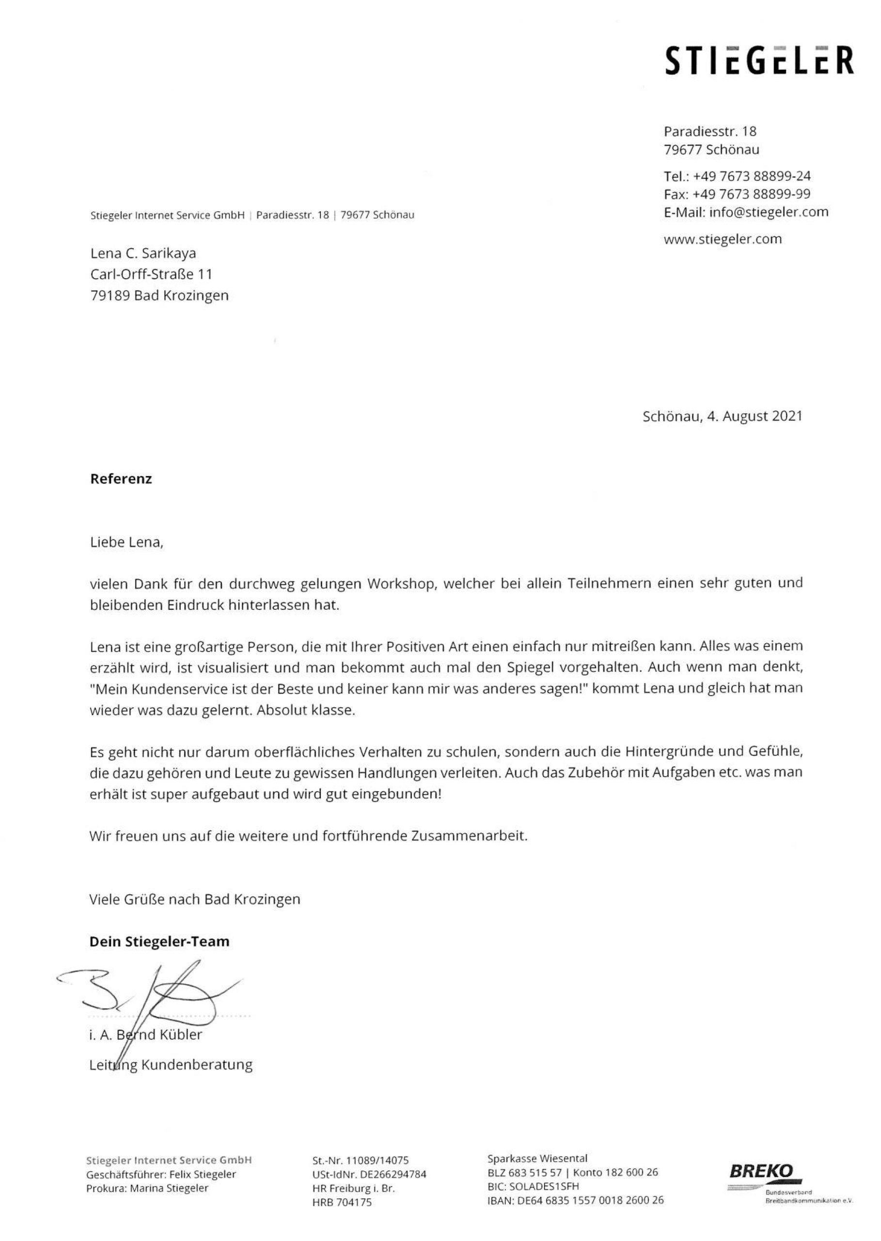 Bild Referenz Stiegeler Internet Service GmbH